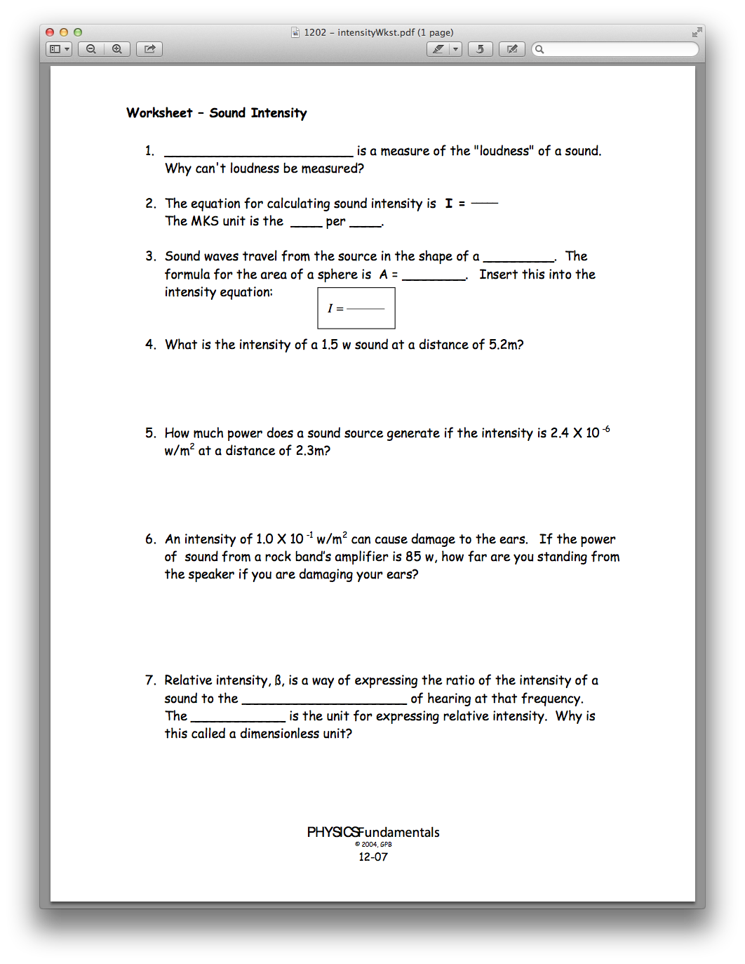 Physics Chapter 12, Lesson 02 - Sound Intensity and