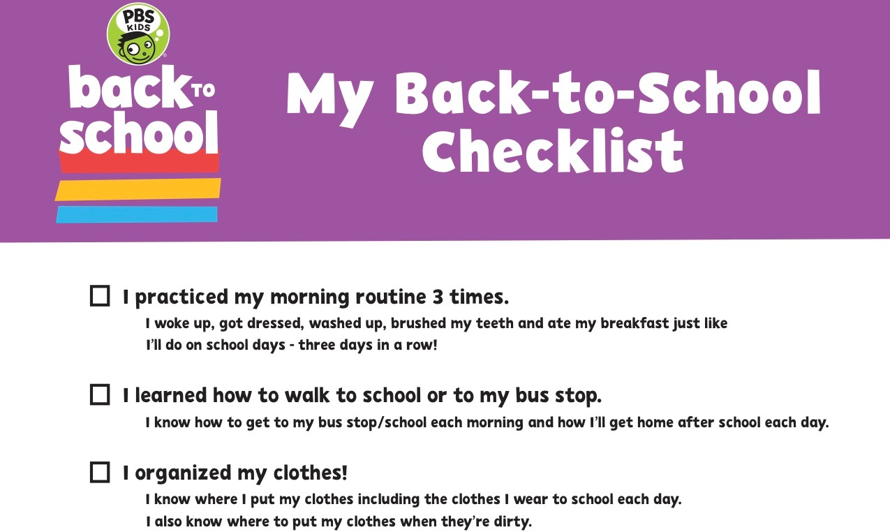Back-to-School Planner and Checklist | PBS KIDS | PBS LearningMedia