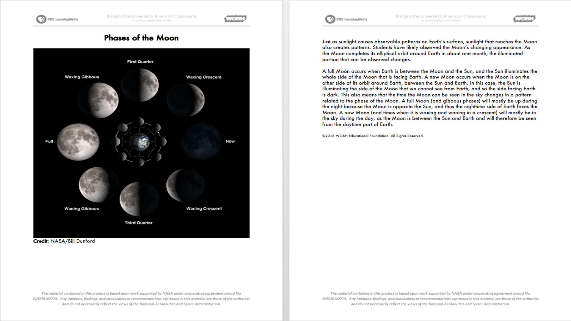Earth and Moon Data   PBS LearningMedia