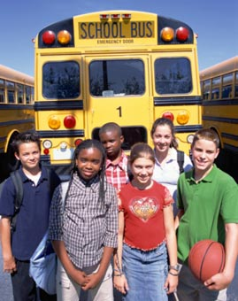 Students Next to School Bus