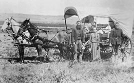 Family with Their Covered Wagon
