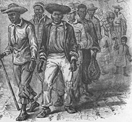 Men Walking in Chains