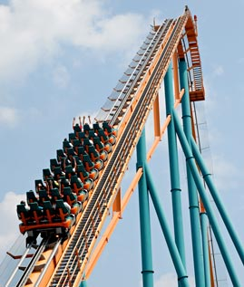 Roller Coaster Climbing a Hill