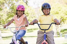 Girl and Boy on Bikes